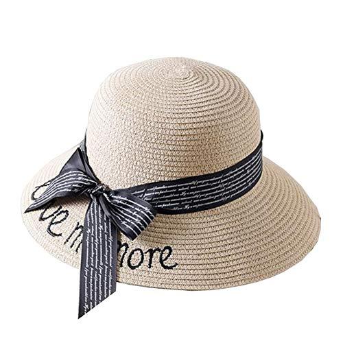 ZX-cappello Da Sole Cappello di Paglia Spiaggia Donne Cappello Parasole Pieghevole All'aperto Protezione UV (Colore : Beige, Dimensioni : 56-58cm)
