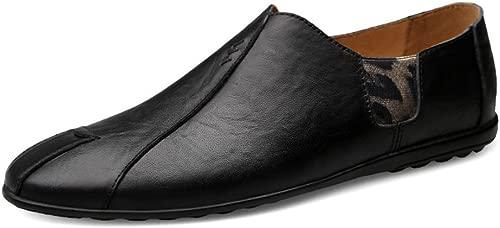 JIALUN-Schuhe Herrenmode Driving Penny Loafers Echtes Leder Splice Stit ng Vamp Slip-on Weiche Sohle Mokassins (Farbe   Schwarz, Größe   43 EU)