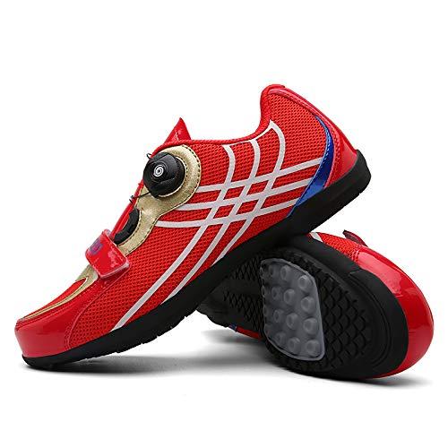 JINFAN Calzado para Montar en Bicicleta Deportes Al Aire Libre Equipo para Montar Calzado Deportivo Especial Al Aire Libre,Red-4.5UK=(240mm)=38EU