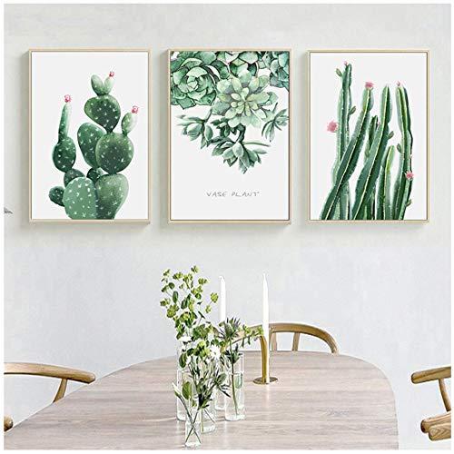 HYFBH Cuadro en Lienzo Arte de la Pared Moderna Planta Verde Hoja Cactus Pintura Decoración para el hogar Cartel Imágenes de la Pared para la Sala de estar-40x60cm Sin Marco