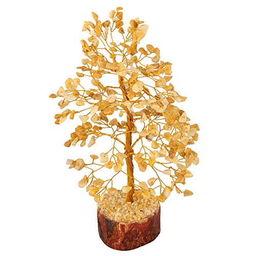 FASHIONZAADI Yellow Aventurine Gemstone Tree Bonsai Money Feng Shui Crystal Chakra Stone Healing Crystals Trees Good Luck Home Office Table Décor Health Prosperity Gift Size 10- inch (Golden Wire)