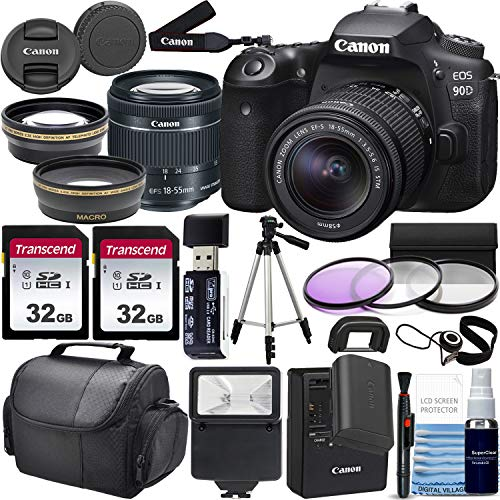Canon EOS 90D DSLR Camera and Canon EF-S 18-55mm f/3.5-5.6 is STM Lens & Professional Accessory Bundle W/ 2X 32GB Memory Cards + Case & Wide Angle & Telephoto Lens + More!