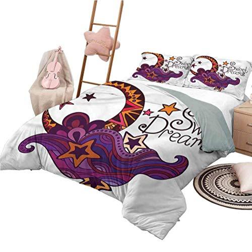 Juegos de Cama de Lujo de Hotel Sweet Dreams Chic Juego de Funda nórdica para el hogar Moon Stars Juego de Cama Decorativo de 3 Piezas con 2 Fundas de Almohada King Size