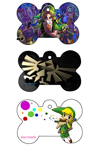 O2 Zelda Link Triforce Custom Logo Dog Pet Cat ID Tag Bone Shape Photo Picture Personalized Key Ring (Triforce)
