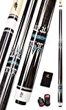 Collapsar CXT020 Pool Cue with Soft Case,Black with Cream Points and Turquoise,Wrapless Dark Gray Curly Maple Handle, 58Inch Professional Pool Stick (Dark Gray Handle, 20 Ounce)