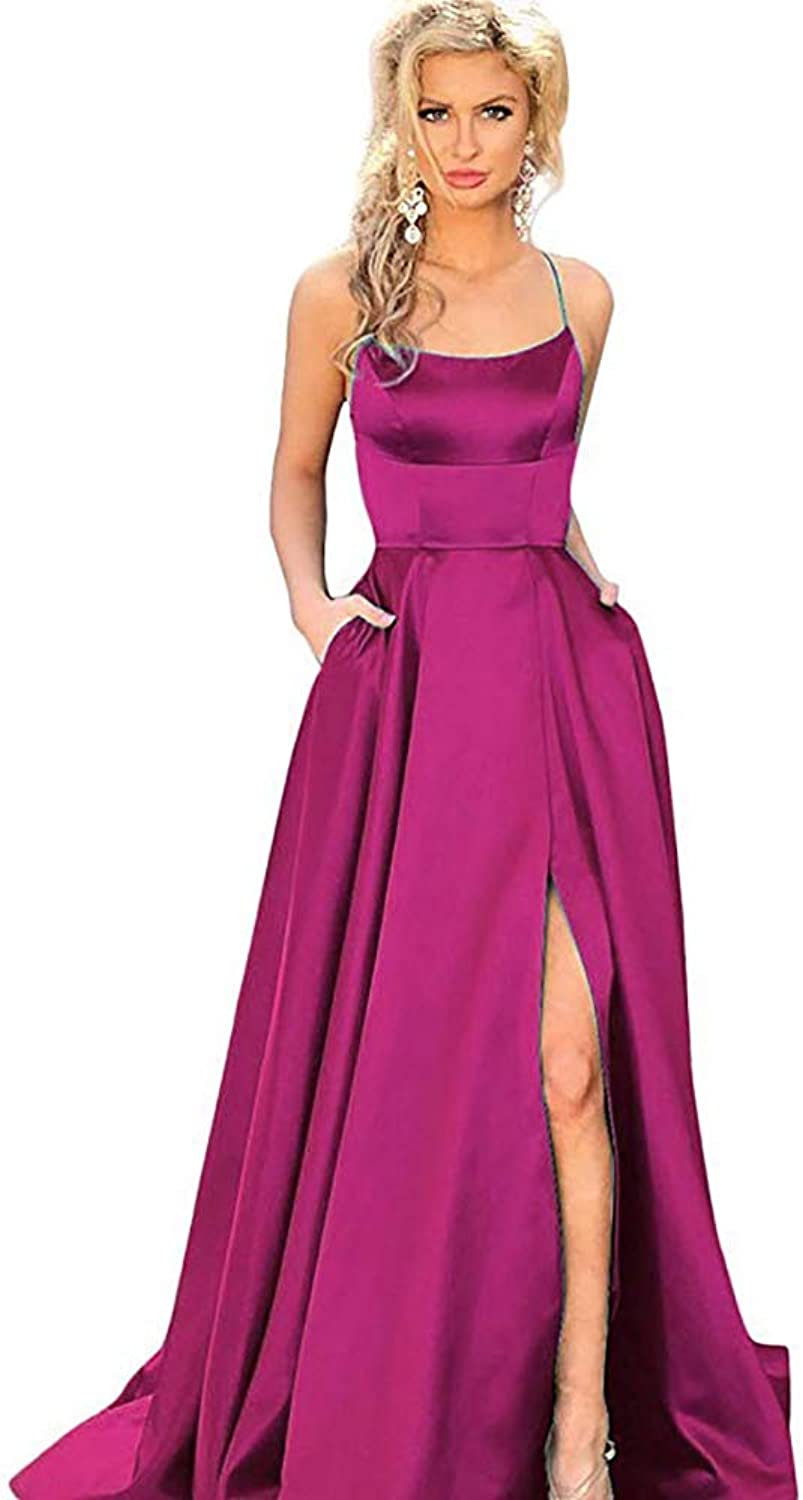 ANFF Women's Satin Long Halter Prom Dresses with Slit 2018 Spaghetti Straps Formal Evening Gowns with Pockets