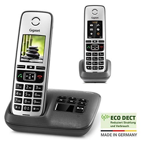 Gigaset Family mit Anrufbeantworter - 2 schnurlose Telefone mit großem, farbigem Display und hoher Reichweite – anthrazit-grau
