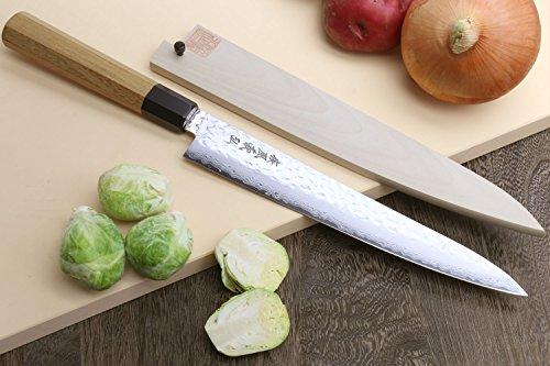 Yoshihiro VG-10 46 Layers Hammered Damascus Sujihiki Japanese Slicer Knife, 9.5inch (Octagonal Ambrosia Handle)