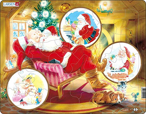 Larsen JUL2 Babbo Natale Che Si rilassa sulla Sua Sedia, Puzzle Incorniciato con 33 Pezzi