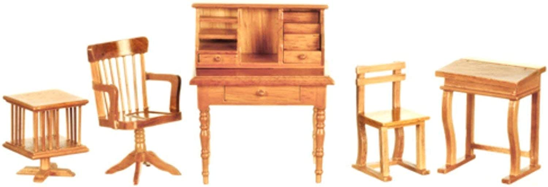 Dolls House Light Oak Study Office School Furniture Set 1 12 Scale