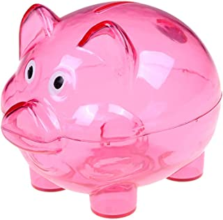 Cartoon Plastic Piggy Bank Coin Money Cash Saving Box For Kid (Rose)