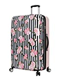 Betsey Johnson 30 Inch Checked Luggage Collection - Expandable Scratch Resistant (ABS + PC) Hardside Suitcase - Designer Lightweight Bag with 8-Rolling Spinner Wheels (30in, Stripe Roses)
