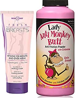 NO SWEAT BUNDLE! Lady Anti-Monkey Butt Powder (6oz) AND Fresh Breasts Lotion, The Solution for Women (3.4 OZ tube)