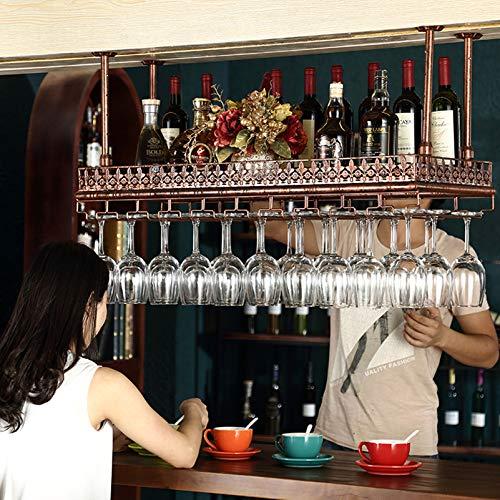 XWZJY Estante Industrial para Copas de Vino, Vintage, montado en el Techo, para Colgar Botellas de Vino, Estante para Copas de Hierro de 2 Capas para Cocina, Bar, Pub (Color: Bronce, 47.2'L)