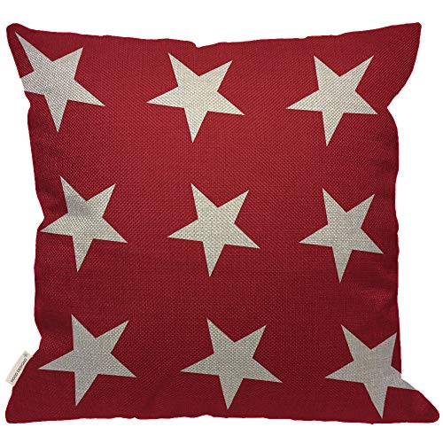 HGOD DESIGNS White Star Throw Pillow Cover,Abstract USA Star Design on The Red Background Burlap Pillow Cases Decorative for Women Girls Boys Couch Sofa Bedroom Living Room 18x18 Inch