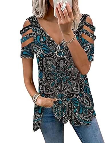 Onsoyours Damen Casual T-Shirt Kurzarm Sommer Tops Lose Oberteile Rundhals Basic Bluse Mit Tasche Elegante Shirt 5 Blau M