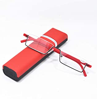 Qi Song Flexible Tr90 Half Frame Reading Glasses Semi Rimless Reader With Case+1.0+1.5+2.0+2.5+3.0+3.5