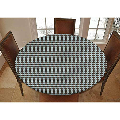 LCGGDB AbstractSoft Trellis Elastic Edged Polyester Fitted Tablecolth,XL Large Round Fitted Table Cover - Fits Tables up to 63' Diameter,The Ultimate Protection for Your Table
