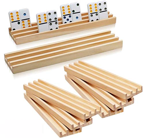 Wooden Domino Racks Set of 8  Exqline Premium Domino Trays Holders Organizer for Mexican Train Chickenfoot and Other Domino Games  Dominoes NOT Included