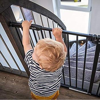 Hauck Barrière de Sécurité pour Enfants Close N Stop incl. Extension de 9 cm / de 84 à 89 cm / Sans Percage / Métal / noir