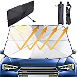 Jasvic Ombrello parasole per finestrino anteriore dell'auto, pieghevole, protezione dai raggi UV (isolamento termico) per auto, camion, autocarri (84 x 142 cm)