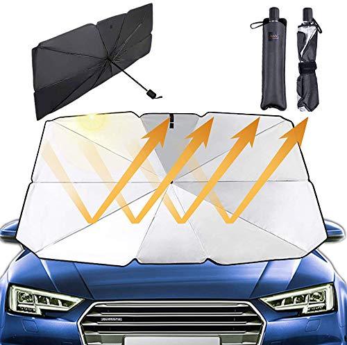 JASVIC Parabrisas del Coche Sombrilla Sombrilla-Parabrisas Sombrilla Plegable para La Ventana Delantera del AutomóVil Rayos Anti-UV y Calor Protector de Visera Sol Paraguas (142 * 84CM)