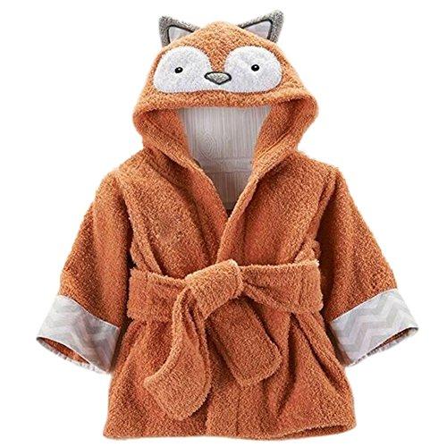 Minuya - Albornoz unisex con capucha, en algodón, para bebés y niños de 0 a 6años, ideal como regalo Rojo Fox 2- 4 Años