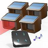 Sistema de Alarma Solar Remota de Entrada de 800m - 3 Niveles Ajustables de Sensibilidad - Sensor Impermeable de Exterior DIY Sistema de Alarma de Seguridad- 1 Receptor y 4 Detector