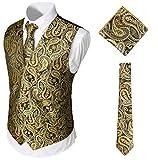 WHATLEES Herren Klassische Paisley Jacquard Weste & Krawatte und Einstecktuch Weste Anzug Set, Ba0213-gold, XL