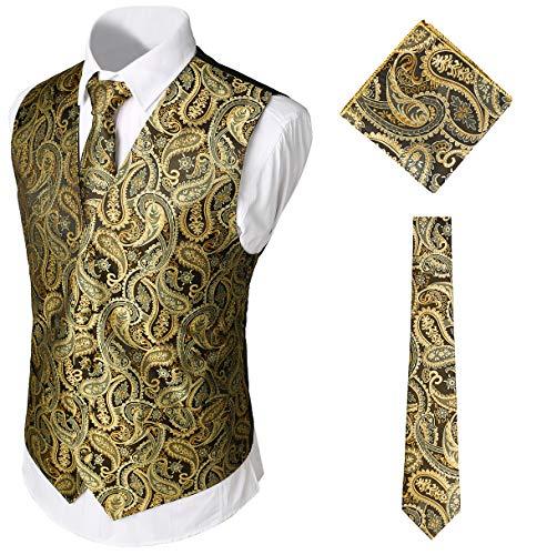 WHATLEES Herren Klassische Paisley Jacquard Weste & Krawatte und Einstecktuch Weste Anzug Set, Ba0213-gold, M