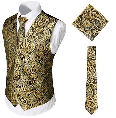 WHATLEES Herren Klassische Paisley Jacquard Weste & Krawatte und Einstecktuch Weste Anzug Set, Ba0213-gold, XXL