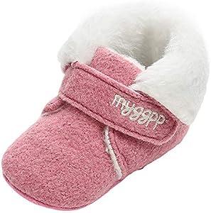 Zapatillas de niño First Walkers,SunGren Zapatos de Bebé Zapatillas de Niño Niña Patucos de Piel con Elástico para Bebé Zapatitos Primeros Pasos Pantuflas Infantiles (Melon Rojo,13)