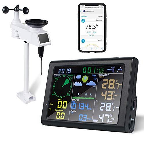 Enshey 5 in 1 WLAN Funk Wetterstation mit Wettervorhersage, Temperatur, Luftdruck, Luftfeuchtigkeit, Windgeschwindigkeit, Windrichtung, Regenmesser, Mondphase, Alarm