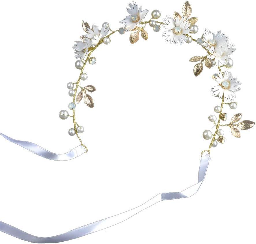 Amosfun Elegant Flower Wedding Bridal Headband Twisted Bead Crystal Handmade Ribbon Headdress for Bride Bridesmaid (White)