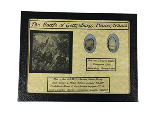 Dropped & Shot Civil War Bullets from Gettysburg in Matted Display Case with COA