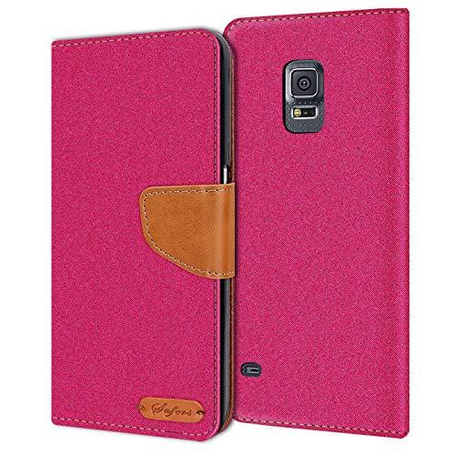 Conie Samsung Galaxy S5 Mini Hülle für Galaxy S5 Mini Tasche, Textil Denim Jeans Look Booklet Cover Handytasche Klapphülle Etui mit Kartenfächer, Pink