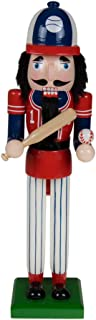 Traditional Christmas Wooden Baseball Player Nutcracker by Clever Creations | Red and Blue Base Ball Outfit Carrying Baseball Bat | 15
