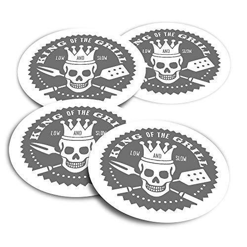 Adesivi in vinile (set di 4) 10 cm – BW – BBQ King of The Grill Barbeque Fun Decalcomanie per computer portatili, tablet, bagagli, libri di rottami, frigoriferi #40205