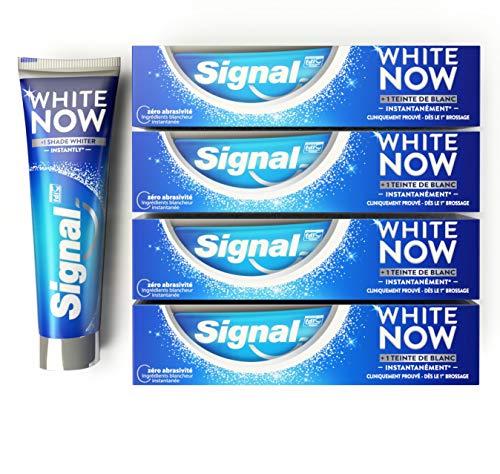 Signal White Now Dentifrice Blancheur 1 Teinte de Blanc en plus Instantanément, Sourire Eclatant, Correcteur de Couleur, Cliniquement prouvée (Lot de 4x75ml)
