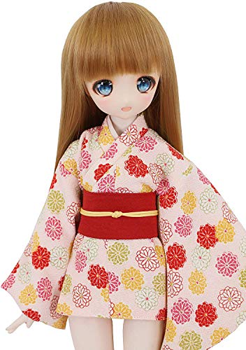 Petite Marie Japan for 1/4 Doll 16 inch 40cm MDD (Mini Dollfie Dream) MSD BJD Mini Kimono Hikara Kogiku Chirimen Pink Red Belt [No.0083] Clothes Only not Include Doll