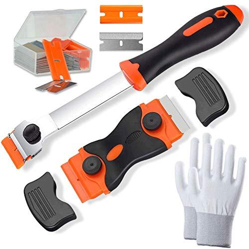 Gmili Raspador de doble filo + Rasqueta reforzada Cuchilla con 1 par de guantes de trabajo y 20 Acero Inoxidable Cuchillas 10 cuchillas plástico para Vidrio/zulejos/Cerámicas/masilla/pegamento