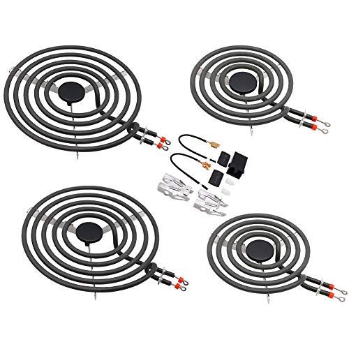 Primeswift MP22YA Electric Range Burner Element Unit (Set-2 x MP21YA 8 and 2 x MP15YA 6) with 1 x (330031) Receptacle kits Compatible with Whirlpool,KitchenAid,Maytag Electric Range Stove