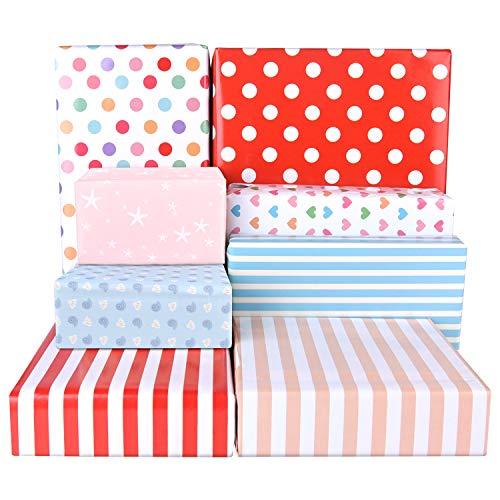 PLULON 16 Gefaltete Blätter Geschenkpapier Kinder Geburtstag, Punkte, Herzen, Streifen Buntes Geschenkpapier