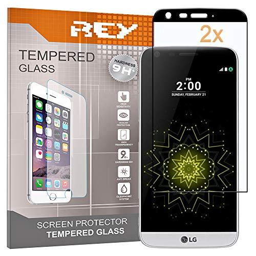 REY Pack 2X Panzerglas Schutzfolie für LG G5, Schwarz, Bildschirmschutzfolie 9H+, Polycarbonat, Festigkeit, Anti-Kratzen, Anti-Öl, Anti-Bläschen, 3D / 4D / 5D