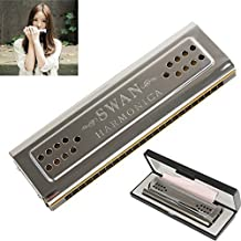 Swan 24 Holes Harmonica Tremolo (silver, Key Of C&G Double-side)