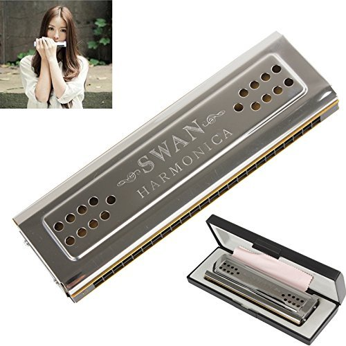 【The Best Deal】OriGlam Professional Swan 24 Holes Key Of C&G Double-side Tremolo Harmonica