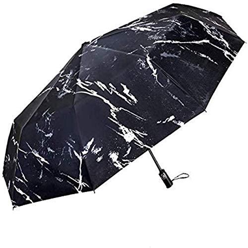 MJMJ sombrilla Paraguas De Sol, Paraguas De Viaje Automático Compacto Paraguas Ligero De Tres Pliegues Hombres Mujeres Paraguas Neutral A Prueba De Viento Protección UV Negro Paraguas Soleado