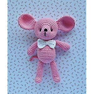 Häkeltier Maus Leo klein Häkelmaus 14 cm rosa Baumwolle Handarbeit