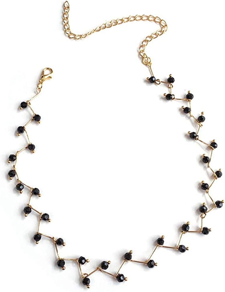 Dainty Black Beaded Choker Necklace Jewelry for Women and Girls Handmade Chain Beaded Necklaces