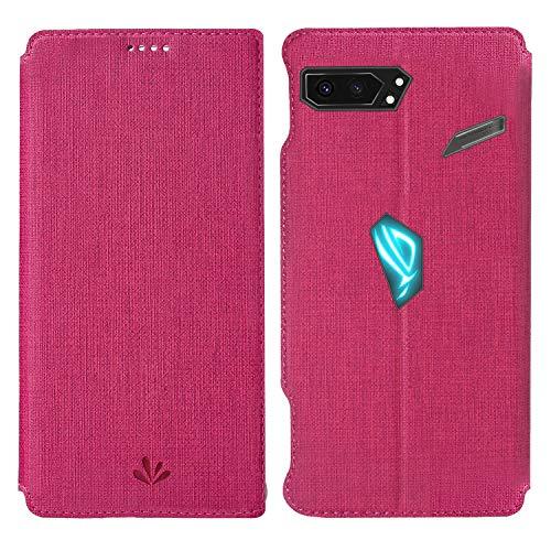 HATA ASUS ROG Phone 2 Lederhülle Handyhülle flip case mit Standfunktion Magnetverschluß Kartenfach ASUS ROG Phone 2 Schutzhülle Tasche (ROG Phone2, Red)